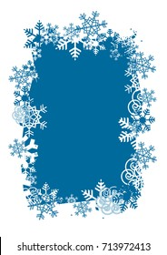 Christmas Background With Frame Of Snowflakes. Decorative Frame of snowflakes on the blue background. Vector available.