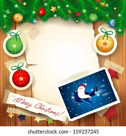 Christmas background with funny Santa on the airplane, vector