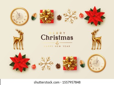 Christmas background. General view flat, flower red Poinsettia flor de Navidad. Symbol Christmas Flower Star Euphorbia pulcherrima. gift box, gold snowflake, Xmas ball, old clock, Gold metal Reindeer