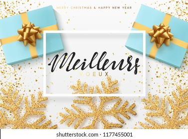 Christmas background with gifts box and shining snowflakes. French text Meilleurs Voeux