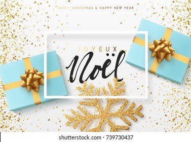 Christmas background with gifts box and shining snowflakes. French text Joyeux Noel