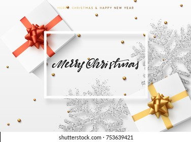 Christmas background with gifts box and shining silver snowflakes. Merry Christmas greeting card vector Illustration.