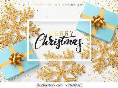 Christmas background with gifts and shining golden snowflakes. Merry Christmas greeting card vector Illustration.