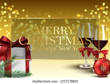 Christmas background with gifts, wine glass and balls