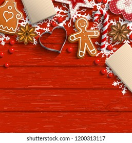 Christmas background with gingerbread cookies, spices and traditional ornaments on red wooden background, inspired by flat lay style, vector illustration, eps 10 with transparency and gradient mesh