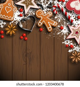 Christmas background with gingerbread cookies, spices and traditional ornaments on dark brown wooden background, inspired by flat lay style, vector illustration, eps 10 with transparency and gradient