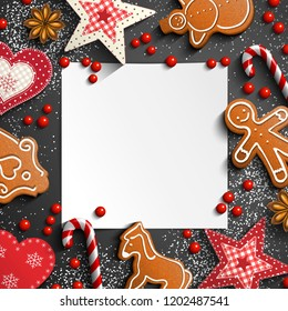 Christmas background with gingerbread and traditional ornaments, candy canes and anise stars laying on black background, vector illustration, eps 10 with transparency
