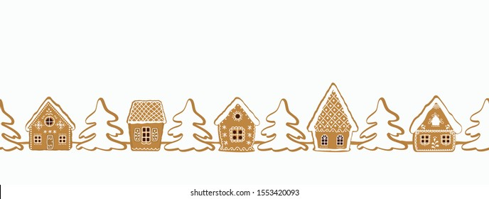 Christmas background. Gingerbread village. Seamless border. There are gingerbread houses and fir trees on a white background. Greeting card template. Vector