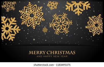Christmas background with glittering golden snowflake. Vector illustration for banner, card design