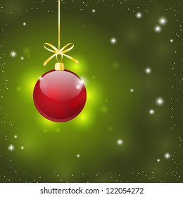 Christmas background with glossy red ball