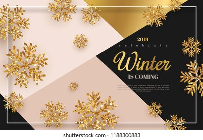 Christmas background with gold snowflakes. Vector illustration. Place for text on trendy geometric backdrop. Winter template design for posters, flyers, brochures or vouchers.