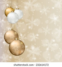 Christmas background with golden balls and snowflakes on light background.