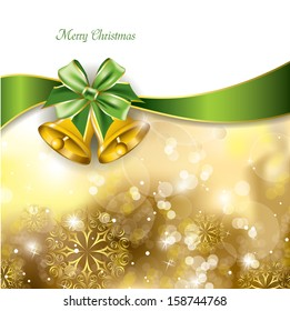 Christmas Background with Golden Bells.