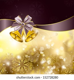 Christmas  Background with Golden Bells. Abstract Illustration.