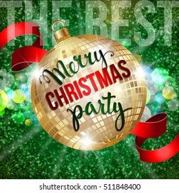 "Christmas background with golden disco ball and handwritten text ""Merry Christmas party"""