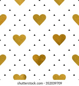 Christmas background with golden hearts. Vector texture for gift packaging, invitation card, cover, web, wallpaper, wrapping, textile or holiday decor.