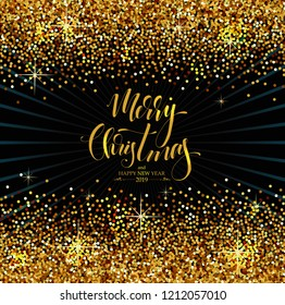 Christmas Background with golden sparkles, modern Hand Drawn Lettering, vector illustration, luxury backdrop for your Holiday designs