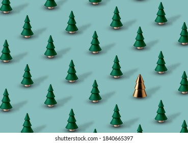 Christmas background with green wooden Christmas trees and one gold glass tree.