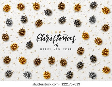 Christmas background. Handwritten text Merry Christmas and Happy New Year. Xmas greeting card, banner, web poster. Festive vector illustration. Design pine cones, round beads, golden glitter color.