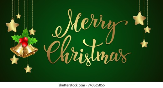 """Christmas background with  handwritten text """"Merry Christmas"""". Vector illustration for posters, icons, greeting cards, print and web projects."""