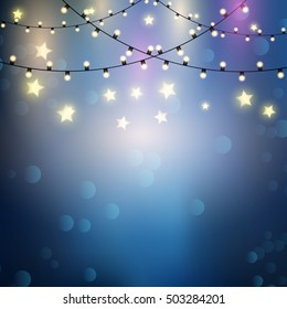 Christmas background with hanging string lights