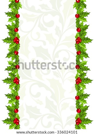 christmas background holly berries leaves vertical stock vector