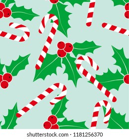 Christmas background with holly and candy cane. Illustration of holly. Illustratio  of candy cane. Christmas textile. Winter seamless pattern. Textile print.