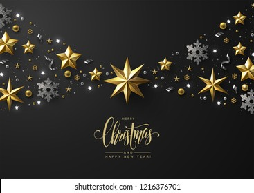 Christmas Background with Horizontal Border made of Shiny Gold Stars, Silvers Snowflakes and Beads