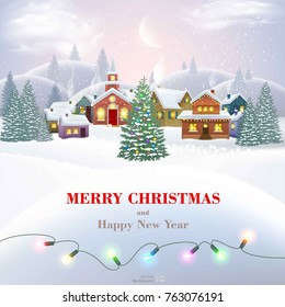 Christmas background with houses. Happy new year. Vector  EPS 10.