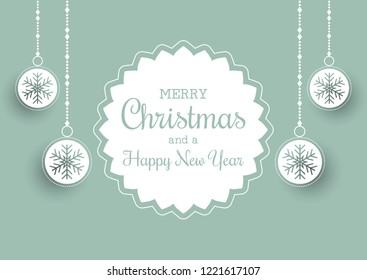 Christmas background with label and hanging baubles design