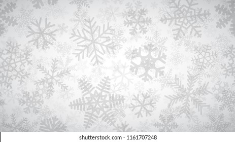 Christmas background of many layers of snowflakes of different shapes, sizes and transparency. Gray on white