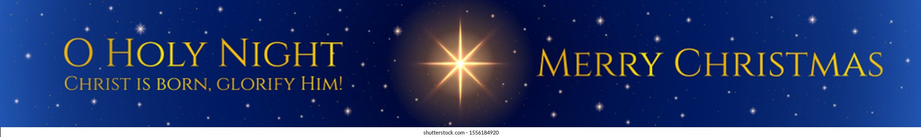 Christmas background (Merry Christmas holiday banner). Holy night vector illustration. Night sky with Christmas star and starry sky