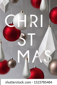 Christmas background with minimalist and realistic  decorations