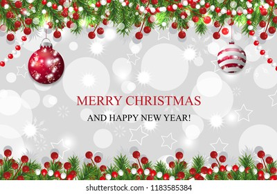 Christmas background, New Year decoration with fir branches, beads and holly berry and red baubles. Vector illustration.