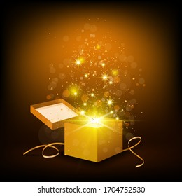 Christmas background with open golden box with confetti