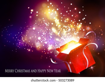 Christmas background with open red box