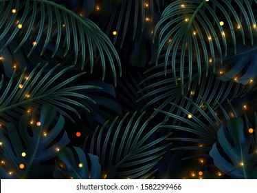 Christmas background with palm leaves and bright light garlands.