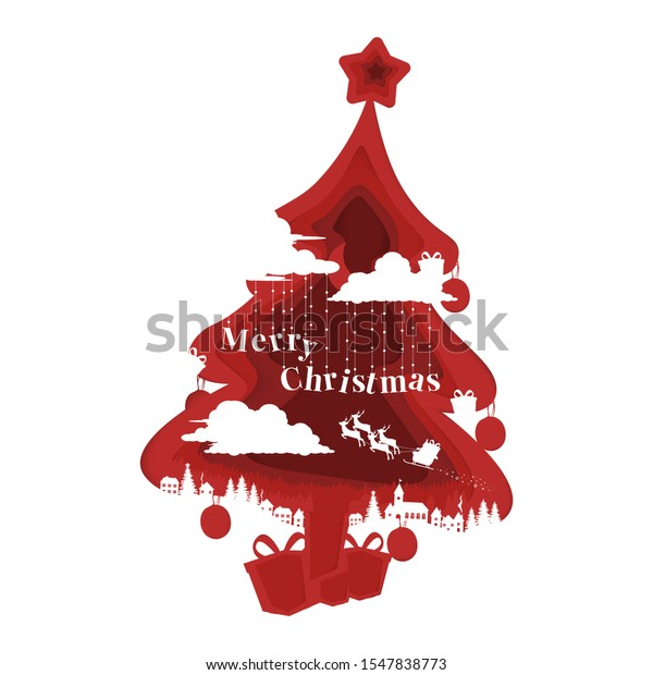 Christmas Background Paper Cut Out Style Stock Vector Royalty Free 1547838773
