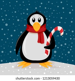 Christmas background penguin with candy stick. Vector illustration