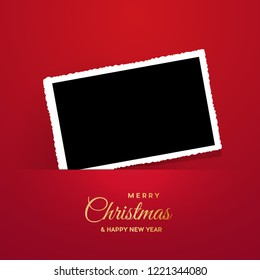 Christmas background with photo, blank frame. Vector template with picture to insert