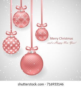 Christmas background with pink pearl decorative balls on ribbons with bows and sparkling snowflakes for New Year and Christmas design. Vector illustration, template