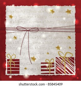 Christmas background with presents and bow