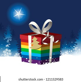 Christmas background with  rainbow Christmas gift