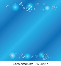 Christmas background with random scatter falling silver snowflakes, blue blurred lights and sparkles on a blue background