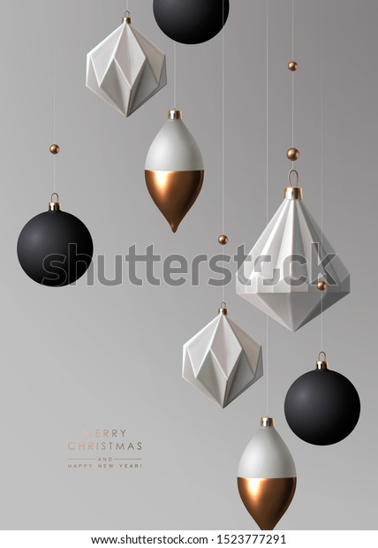 Christmas background with realistic black white and gold contemporary geometric decoration