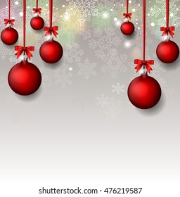 Christmas Background with red balls
