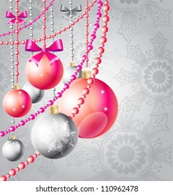 christmas background with red balls and beads,  vector