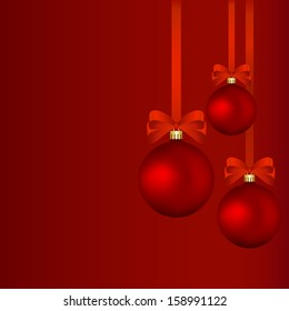 Christmas background - red baubles with red ribbons