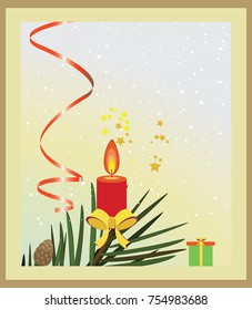Christmas background with red candle and decorations