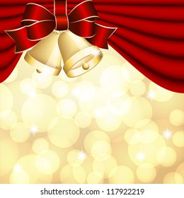 Christmas background with red curtain and gold bell. Vector illustration